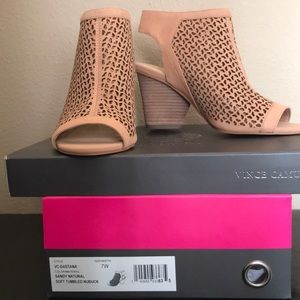 Vince Camuto open toe boot, new in box.